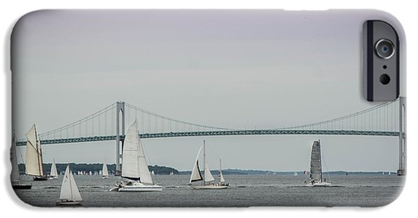 Sailboat Ocean iPhone Cases - Bridge and Boats iPhone Case by Jerri Moon Cantone
