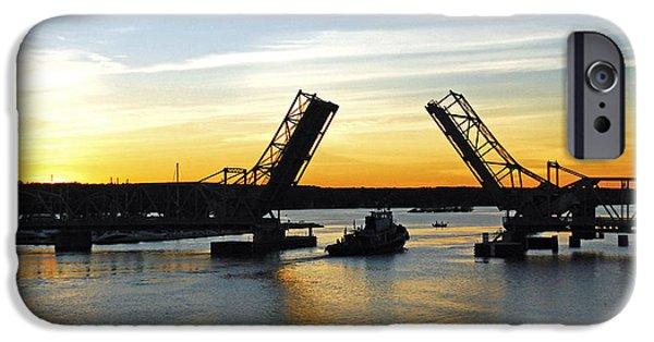 Bay Bridge iPhone Cases - Bridge at dusk iPhone Case by Bob O