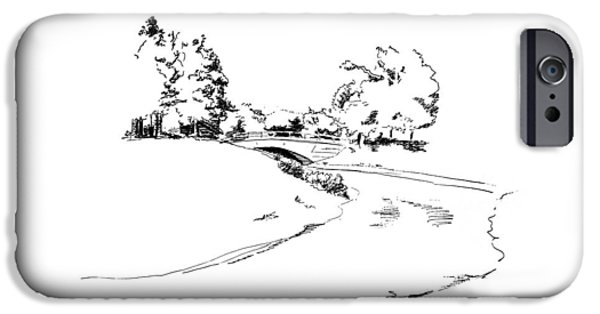 Location Drawings iPhone Cases - Bridge Over the River iPhone Case by Masha Batkova