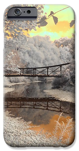 Infrared iPhone Cases - Bridge Reflections iPhone Case by Jane Linders