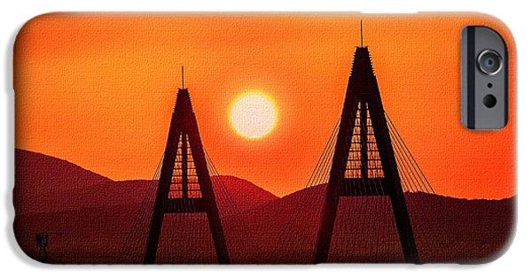 Business Digital Art iPhone Cases - Bridge Sunset H b iPhone Case by Gert J Rheeders