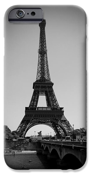 Canadian Photographer iPhone Cases - Bridge To The Eiffel Tower iPhone Case by Kamil Swiatek