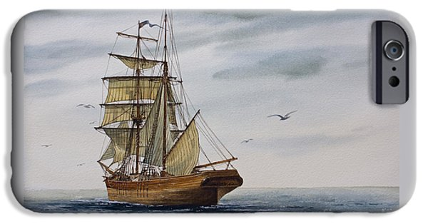 Tall Ship iPhone Cases - Brigantine Making Sail iPhone Case by James Williamson