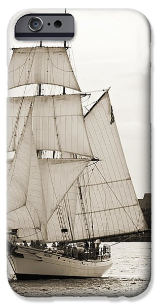 Sailing Yacht iPhone Cases - Brigantine Tallship Fritha Sailing Charleston Harbor iPhone Case by Dustin K Ryan