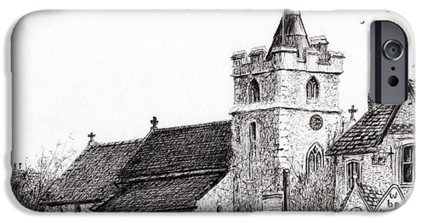Church Drawings iPhone Cases - Brighstone Church iPhone Case by Vincent Alexander Booth
