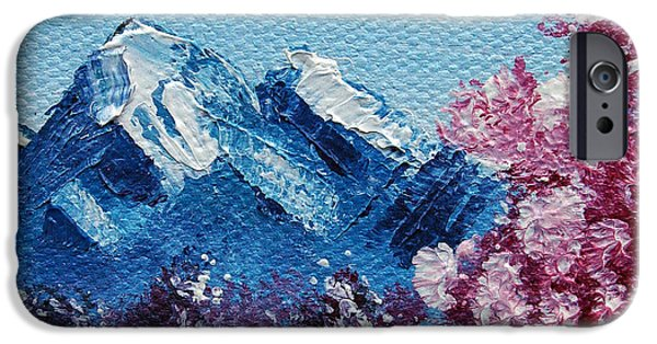 Wet On Wet Paintings iPhone Cases - Bright Blue Mountains iPhone Case by Jera Sky