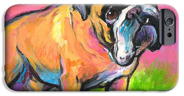 Bulldog Art iPhone Cases - Bright Bulldog portrait painting  iPhone Case by Svetlana Novikova