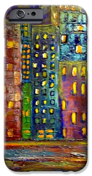 Colorful Abstract iPhone Cases - Bright city night iPhone Case by Susan Hendrich