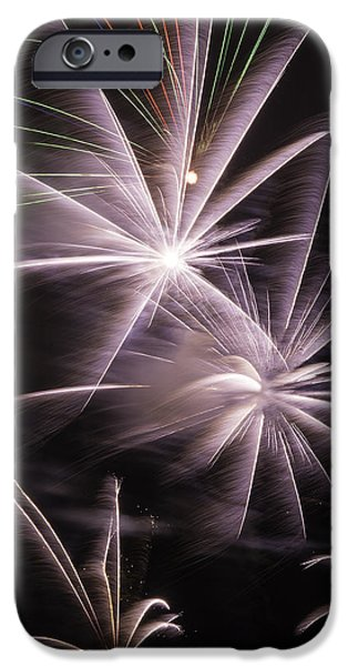 4th July Photographs iPhone Cases - Bright Fireworks iPhone Case by Garry Gay