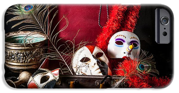 Drama iPhone Cases - Bright porcelain mask red suitcase peacock feather iPhone Case by Nelson Charette