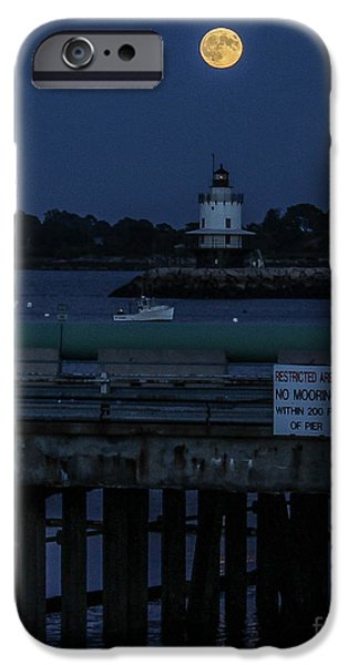 Nubble Lighthouse iPhone Cases - Bright Super Moon in Maine iPhone Case by Joe Far Photos