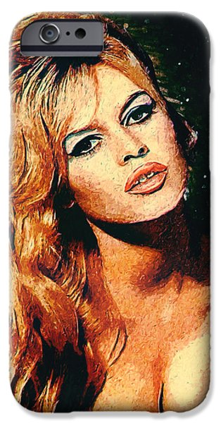 Model iPhone Cases - Brigitte Bardot iPhone Case by Taylan Soyturk