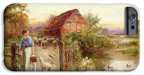 Farm iPhone Cases - Bringing Home the Sheep iPhone Case by Ernest Walbourn