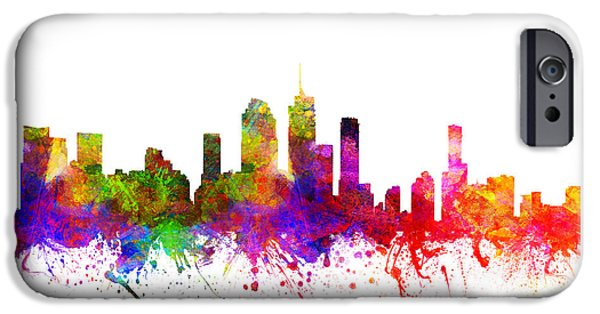 Australia Drawings iPhone Cases - Brisbane Australia Cityscape 02 iPhone Case by Aged Pixel