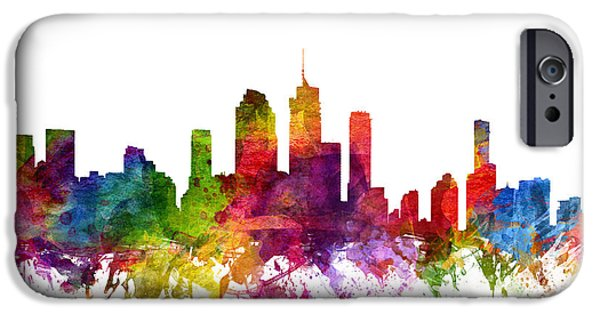 Australia Drawings iPhone Cases - Brisbane Australia Cityscape 06 iPhone Case by Aged Pixel