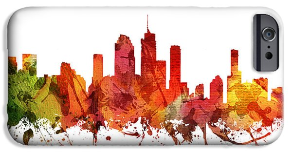 Australia Drawings iPhone Cases - Brisbane cityscape 04 iPhone Case by Aged Pixel