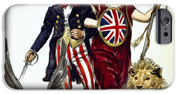 Ww1 iPhone Cases - BRITANNIA and UNCLE SAM - FRIENDS and ALLIES iPhone Case by Daniel Hagerman