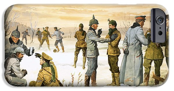 World War One iPhone Cases - British and German soldiers hold a Christmas truce during the Great War iPhone Case by Angus McBride