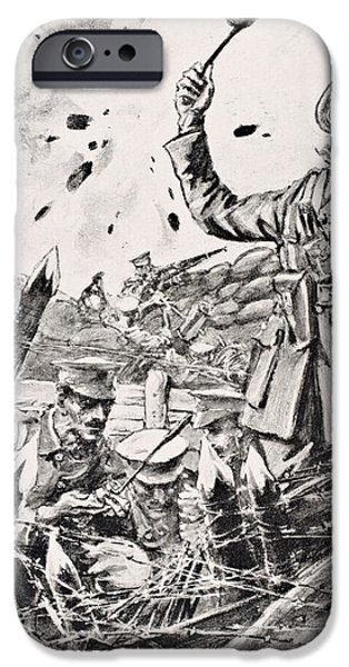 War iPhone Cases - British Officer Hurling Grenades From iPhone Case by Ken Welsh