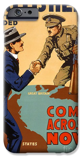 Ww1 iPhone Cases - Britishers youre needed Vintage Poster iPhone Case by Carsten Reisinger