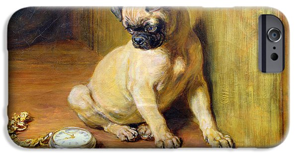 Briton Riviere iPhone Cases - Briton Riviere -Tick-Tack Dog art iPhone Case by Justyna JBJart