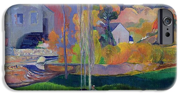 Farm Fields Paintings iPhone Cases - Brittany Landscape iPhone Case by Paul Gauguin