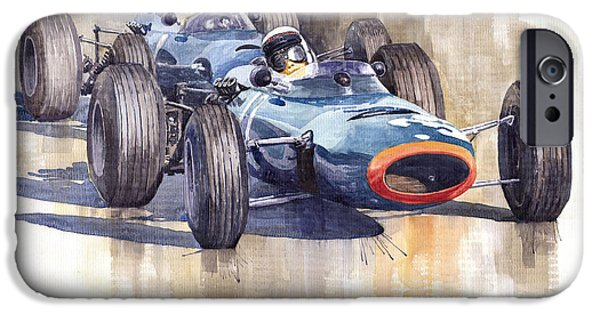 Classic F1 iPhone Cases - BRM P261 1965 Italian GP Stewart Hill iPhone Case by Yuriy  Shevchuk