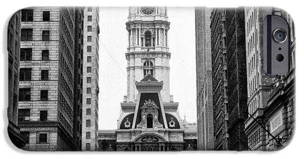Philadelphia City Hall iPhone Cases - Broad Street at City Hall iPhone Case by Bill Cannon