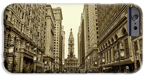 Run iPhone Cases - Broad Street Facing Philadelphia City Hall in Sepia iPhone Case by Bill Cannon