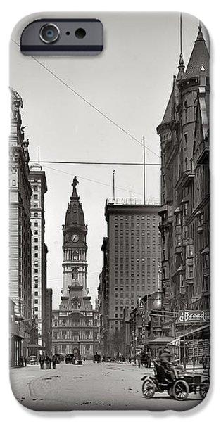 Broad Street Philadelphia 1905 iPhone Case by Bill Cannon