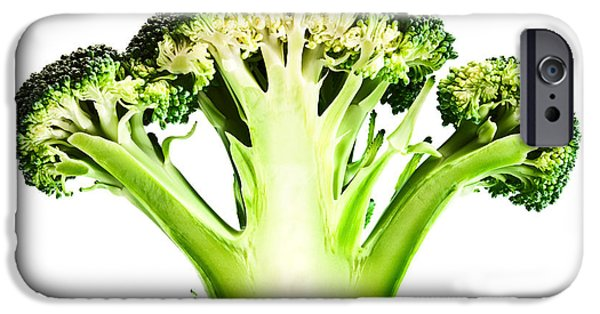 Sectioned iPhone Cases - Broccoli cutaway on white iPhone Case by Johan Swanepoel