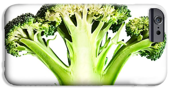 Raw iPhone Cases - Broccoli cutaway on white iPhone Case by Johan Swanepoel