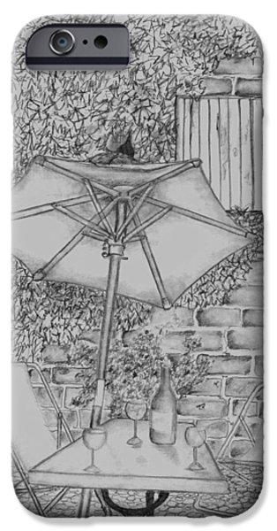 Table Wine Drawings iPhone Cases - Broken umbrella iPhone Case by John Stuart Webbstock