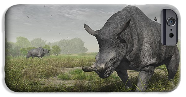 Feeding Birds iPhone Cases - Brontotherium Wander The Lush Late iPhone Case by Walter Myers