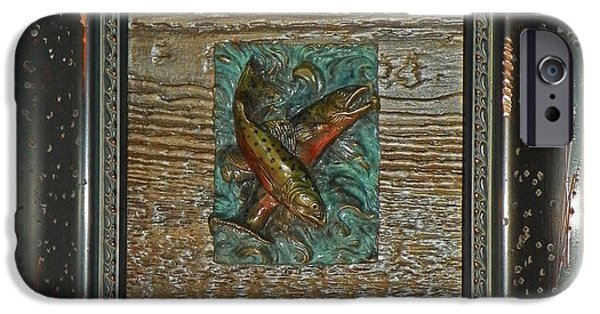 Animal Reliefs iPhone Cases - Brook Trout - Bronze Relief Framed iPhone Case by Dawn Senior-Trask