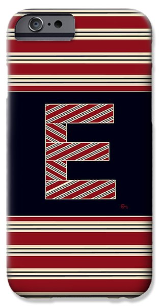 Bosox iPhone Cases - BROOKLINER BOSTON 1920s MONOGRAM alphabet letter initial  E iPhone Case by Cecely Bloom
