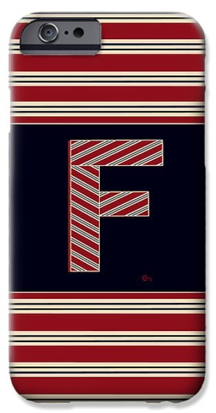 Bosox iPhone Cases - BROOKLINER BOSTON 1920s MONOGRAM alphabet letter initial  F iPhone Case by Cecely Bloom