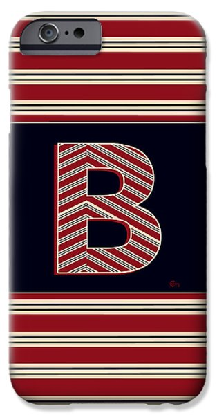Bosox iPhone Cases - BROOKLINER BOSTON 1920s MONOGRAM initial  B iPhone Case by Cecely Bloom