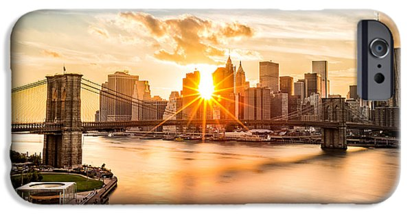 Finance iPhone Cases - Brooklyn Bridge and the Lower Manhattan skyline at sunset iPhone Case by Mihai Andritoiu