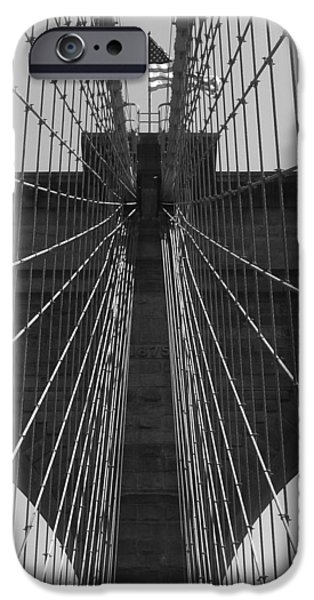 Empire State Pyrography iPhone Cases - Brooklyn bridge iPhone Case by Habib Ayat