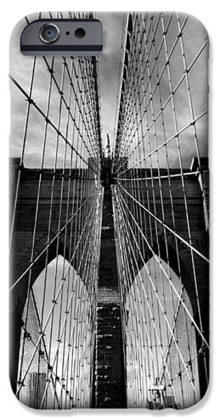 Famous Bridge iPhone Cases - Brooklyn Bridge in Monochrome iPhone Case by Jessica Jenney