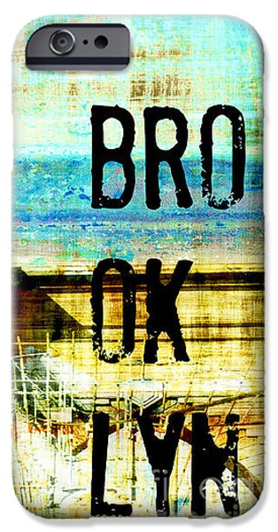 Brooklyn Bridge Mixed Media iPhone Cases - Brooklyn Bridge Industrial Collage and Typography iPhone Case by ArtyZen Studios - ArtyZen Home