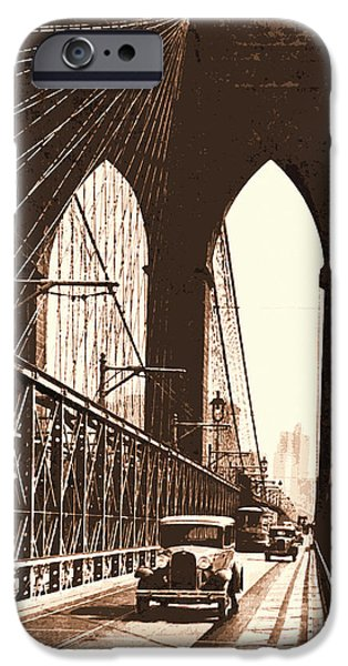 Brooklyn Bridge Mixed Media iPhone Cases - Brooklyn Bridge iPhone Case by Malcolm  Watson
