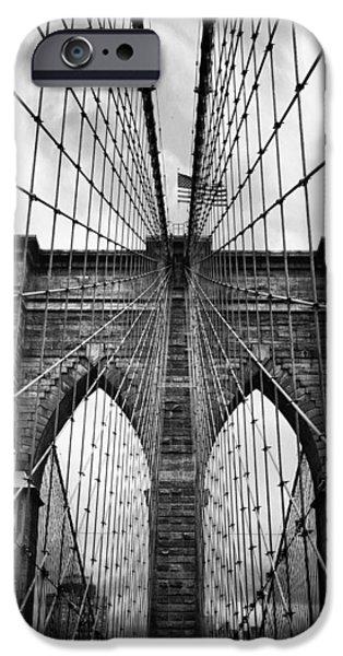 Brooklyn Bridge Digital iPhone Cases - Brooklyn Bridge Mood iPhone Case by Jessica Jenney