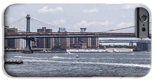 Hudson River iPhone Cases - Brooklyn Bridge Panorama iPhone Case by Jennifer Lycke