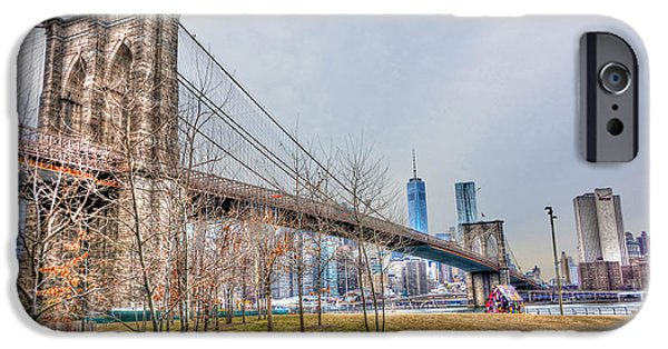 Etc... iPhone Cases - Brooklyn Bridge Park in Winter iPhone Case by Randy Aveille