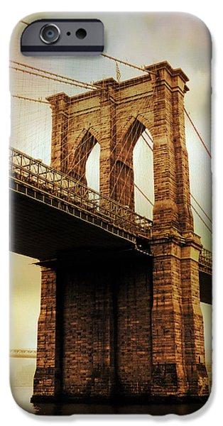 Brooklyn Bridge Digital iPhone Cases - Brooklyn Bridge Perspective iPhone Case by Jessica Jenney