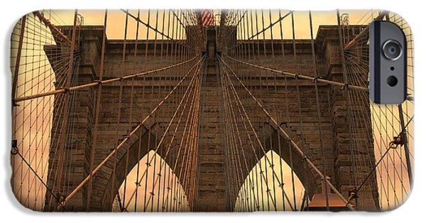 Bay Bridge iPhone Cases - Brooklyn Bridge Sunset iPhone Case by Stephen Stookey
