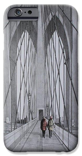 Brooklyn Bridge Mixed Media iPhone Cases - Brooklyn Bridge iPhone Case by Terence Watson