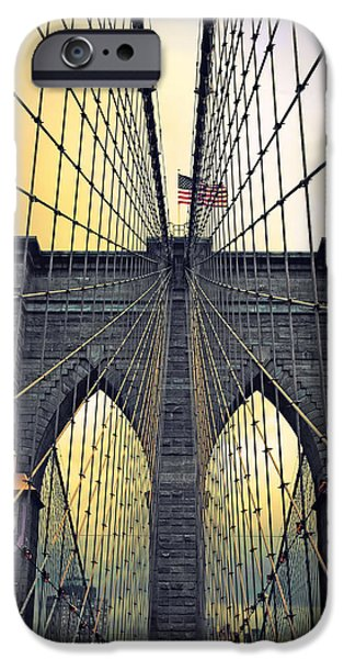 Brooklyn Bridge Digital iPhone Cases - Brooklyn Bridge Twilight iPhone Case by Jessica Jenney
